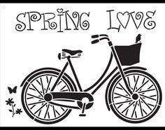 Resorte amor bicicleta Vintage arte Stencil por StudioR12 en Etsy