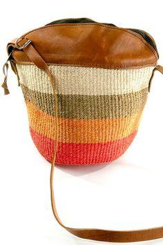 Citrus Striped Sisal Kiondo with Leather Trim Tote Bag