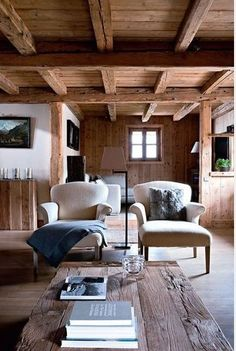 Relaxing Winter retreat Living Room Cabin Interiors, Rustic Interiors, Vintage Modern, Modern Rustic, Rustic Elegance, Rustic Wood, Raw Wood, Rustic Chic, Chalet Interior