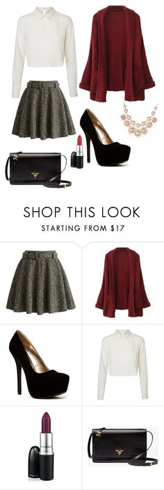"""""""winter look"""" by bonjour-its-ally ❤ liked on Polyvore featuring Chicwish, Qupid, Vero Moda, MAC Cosmetics, Prada and Vivienne Westwood"""