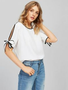 Bow Tie Split Sleeve Blouse White Elegant Tops Contrast Binding Women Auutmn Sheer Tops Casual Chiffon Tunic Blouse Like if you remember Visit our store Pastel Fashion, Fashion Black, Tunic Blouse, Casual Tops, White Tops, Types Of Sleeves, Fashion News, Fashion Fashion, Vintage Fashion