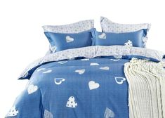 Kvalitné bavlnene posteľné obliečky modrej farby Comforters, Blanket, Bed, Home, Creature Comforts, Quilts, Stream Bed, Ad Home, Blankets