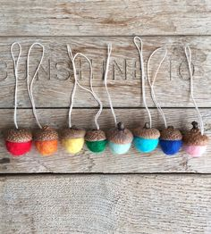Mini Bright Felted Wool Acorn Ornaments by House of Moss on Scoutmob