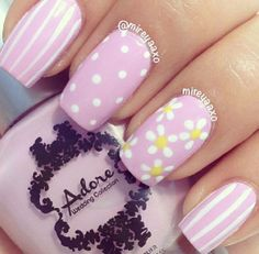 Pink and White Flower Nails fashion nail pretty nail art nail ideas nail designs manicures spring nails Striped Nail Designs, Easter Nail Designs, Easter Nail Art, Striped Nails, Nail Designs Spring, Flower Nail Designs, Spring Design, White Nails, Dot Nail Designs