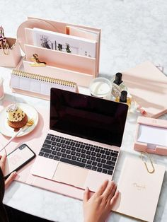 Being organized helps you stay focused. Unless of course you have utterly gorgeous desk accessories like this pink set by and cant stop staring at them. Home Office Ideas Setup Furniture Desks Chairs Tables decorations Decor Home Office Design, Home Office Decor, Office Ideas, Office Setup, Library Design, Office Workspace, Pink Office, Office Lounge, Office Inspo