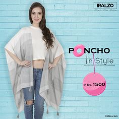 It's impossible to be unhappy in a poncho!  Notch up your wardrobe with our yarn dyed open ruana detailed with tassels at the corners. Style with crop top or blouses with denims to add an extra layer of style into your outfit.