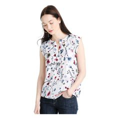 Cap sleeve floral shell top from Joe Fresh. Our latest top