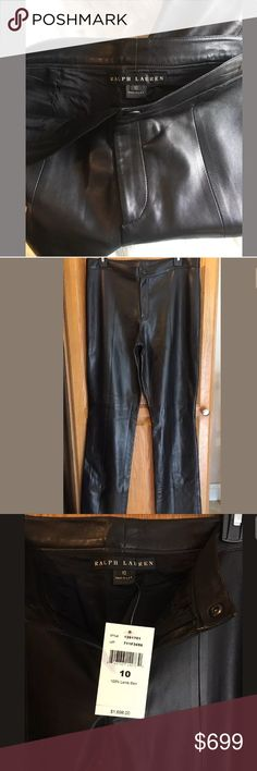 "Ralph Lauren Black Label 100% LS Leather Pants 10 Women's Ralph Lauren Black Label 100% Lamb Skin Black Leather Pants $1,698  Size 10  New with tags  These beautiful pants are from the Genuine Ralph Lauren Black Label Collection. The leather is soft, there is a little room for stretch. Pants are black with a stitched pattern, absolutely beautiful!!  Measurements:  Women's size 10  Waist: 32""  Hips: 42""  Inseam: 33""  Outseam: 42""  Rise: 9.5""  Condition: New with tags  Thank you for…"