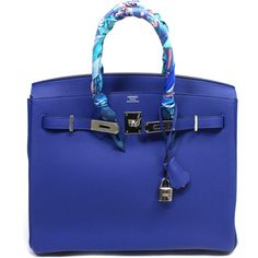 Pre-Owned Hermes Blue Electric 35 cm Birkin Bag Togo Leather with PHW ($17,500) ❤ liked on Polyvore featuring bags, handbags, bleu electrique, real leather purses, leather purses, hermes purse, multi colored handbags and blue purse
