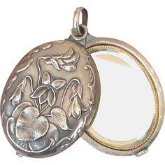 Art Nouveau French Silver 800-900 Slide Locket Mirror Pendant