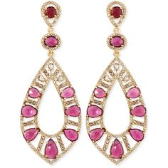Bavna 18k Rose Gold Pink Tourmaline & Diamond Teardrop Earrings (693.525 RUB) ❤ liked on Polyvore featuring jewelry, earrings, orecchini, brinco, rose gold drop earrings, diamond drop earrings, post earrings, diamond earrings and teardrop earrings