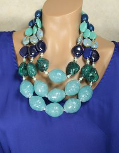 huge chunky blue statement necklace
