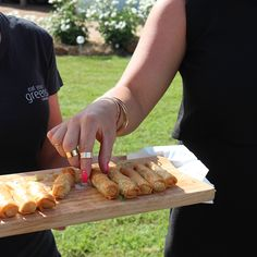 Pork and Apple Cigars with apple sauce, yum! #countryweddings #catering #sharedfood #eatyourgreens #eyg2015