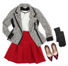 Love this blazer and shoes...prefer a more fitted pencil skirt though.