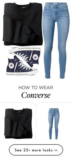 """Untitled #1268"" by holdupneonlights on Polyvore featuring 7 For All Mankind and Converse"