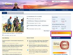 Suncor intranet homepage quick links screenshot