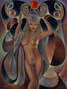 "Saatchi Arte Artista: Ricardo Chávez Méndez; Pintura al óleo de 2003 ""Dynamic Queen V"""