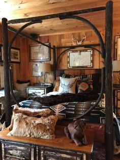 Sentinel Canopy Bed by Darkbrook Rustic Goods – Handcrafted in Keene, NY in the … - Western Home Decor Living Room Western Bedroom Decor, Western Rooms, Lodge Bedroom, Western Bathrooms, Home Decor Hacks, Easy Home Decor, Elegant Homes, Western Style, My New Room
