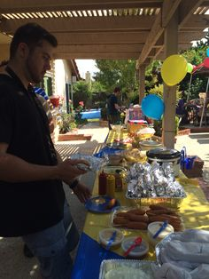 We stuck with traditional food you would see at a carnival. We had: hot dogs (prepared and wrapped in foil with condiments out,) corn dogs, sub sandwiches, fruit salad, fruit platter, jumbo pretzels, a nacho bar and kettle corn.