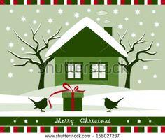 Vector Gift And Birds In Snowy Garden - 158027237 : Shutterstock