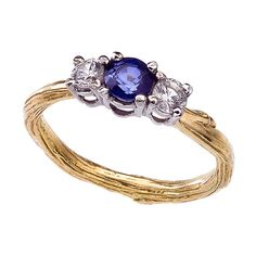 Blue and White Sapphire Three Stone Engagement Ring  -  Yellow Gold Twig Band  -  Diamond Alternative Engagement  - Featured on Lucky.com