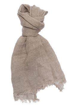 Natural linen scarf taupe organic 100 % linen by HomeOfNature