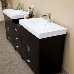 """Bellaterra Home LLC 203107D - 63"""" Double Wall Mount Style Sink Vanity Bathroom Vanities"""