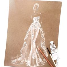 Brooke Hagel bridal fashion illustration inspired by @marchesafashion fall 16'