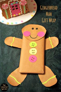 Gingerbread Man Gift Wrap!  perfect for a Chocolate Bar or Small gift like a book for Teachers, friends and family from The Educators' Spin On It