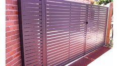Aluminium slat 12mm gaps double swinging gates and panel
