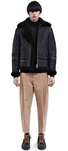 f4befd29701 Acne Studios Ian shearling black is a distinctive aviator jacket trimmed  with contrasting