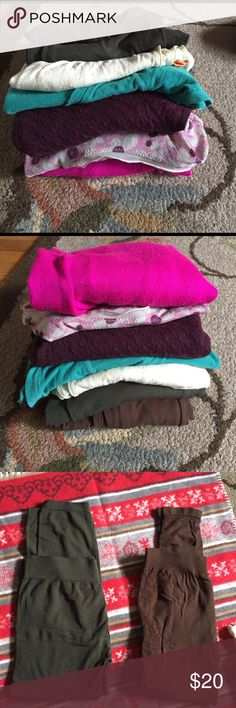 Last day, donating! Lot Bundled 8 Items' Clothing 2 pair of leggings, olive green pair& brown pair has design in side dome pilling in brown pair...green t-shirt American eagle & yellow /orange t-shirt w/elastic at hop mossimo, both Size M , 2 sports bras , plum colored Short sleeve sweater H&M & free pink cardigan Charlotte Russell XS all have been used... the free Cardigan has pilling... j jill Tops Tees - Short Sleeve