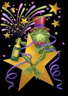 Stephanie Stouffer : Portfolio. A Happy New Year frog. Oh, yeah!