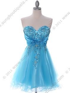 Turquoise Strapless Homecoming Dress. Style #: 183. Get yours today at www.SungBoutiqueLA.com