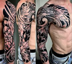 Amsterdam tattoo 1825 kimihito japanese style custom tattoo design phoenix full sleeve black and gray Phoenix Tattoo Sleeve, Phoenix Tattoo Men, Dragon Sleeve Tattoos, Best Sleeve Tattoos, Tattoo Sleeve Designs, Koi Dragon Tattoo, Phoenix Tattoo Design, Badass Tattoos, Body Art Tattoos