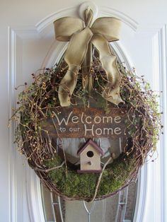 Bird House Wreath Welcome Wreath Berry by DoorWreathsByDesign, $59.95