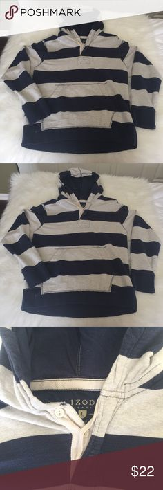 💙 Men's rugby stripe sweatshirt In excellent condition. Thick stripes of navy blue and oatmeal grey. Hood and pouch pocket.   This is a special item!   Our closet is built on quality and quantity!   We want you to get the most bang for your buck!   Add💚💚💚 three $10 items to a bundle for only $22!  Add 💙💙 two $22 items to a bundle for only $32!  Add 💙 one $22 and 💚 one $10 item to a bundle for only $26! Izod Shirts Sweatshirts & Hoodies