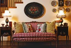 love the check settee and the painted tray    Have a whole lot of these trays ..should sell some