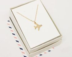 Gold Airplane Necklace Gift For Traveler by CharmedTraveler