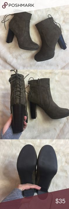 """NWOB Just Fab Miracai Booties NWOB Just Fab faux suede olive booties. Side zipper, back lace up details, with 4"""" block heel. JustFab Shoes Ankle Boots & Booties"""