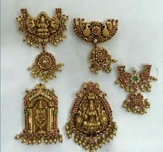Balaji and Lakshmi Pendant - Jewellery Designs Antic Jewellery, Gold Temple Jewellery, Royal Jewelry, India Jewelry, Gold Jewelry, Stone Jewelry, Cheap Jewelry, Jewelry Ideas, Antique Jewelry