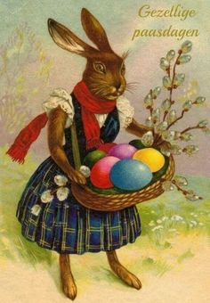 Happy Easter in Hungarian Easter Art, Easter Bunny, Happy Easter, Vintage Greeting Cards, Vintage Postcards, Lapin Art, Bunny Images, Easter Pictures, Bunny Art