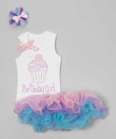 Another great find on #zulily! White Birthday Cupcake Tutu Set - Infant, Toddler & Girls by So Girly & Twirly #zulilyfinds