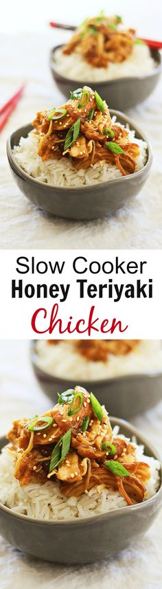Crock Pot Honey Teriyaki Chicken - tender chicken with sweet, savory, and delicious honey teriyaki sauce. Super quick, easy, and takes only 10 mins to prep! Crock Pot Slow Cooker, Crock Pot Cooking, Slow Cooker Recipes, Crockpot Recipes, Cooking Recipes, Healthy Recipes, Asian Recipes, Great Recipes, Dinner Recipes