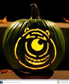 Disney Pumpkin Carving Ideas.  Totally rocked the Monsters Inc one this year and it was so easy!