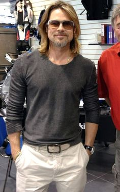 Brad Pitt Wears IC! Berlin Sunglasses with a gray sweater and white pants...visited a Honda Goldwing bike shop while in London.