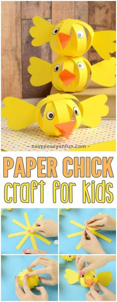 Simple Simple Paper Chick Craft #craftsforkids #Eastercrafts #papercrafts