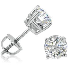 IGI Certified 1 1/2ct  14K White Gold Round Diamond Stud Earrings with... ($2,296) ❤ liked on Polyvore featuring jewelry, earrings, white gold diamond earrings, screw back stud earrings, round diamond earrings, 14k white gold earrings and diamond earrings