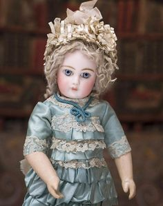"14"" (36 cm) RARE Antique Early Luxury French Portrait Bebe by Emile Jumeau with Entrancing Eyes, Beautiful Dress, c.1878"
