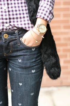 Have some old jeans that need a new life? Don't throw them away, turn them into cute heart printed jeans! Don't want to use your own jeans? Find some comfy ones at Chez Thrift for bargain prices.